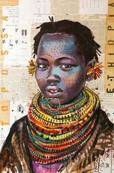 Stéphanie Ledoux - Carnets de voyage: TOILES Black Women Art, Black Art, Art Sur Toile, Afrique Art, Ledoux, African Paintings, Creation Art, Art Premier, A Level Art