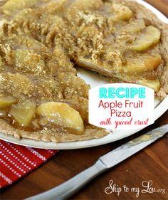 Apple fruit pizza recipe! Use a cake mix to make a crust. www.skiptomylou.org #recipes #applefruitpizza