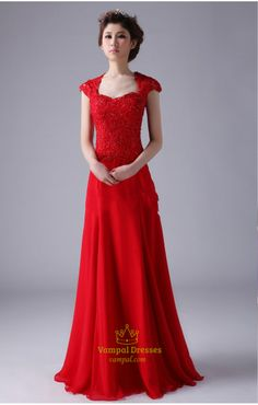 Red Cap Sleeve Prom Dresses ,Red Long Chiffon Prom Dress With Cap Sleeves