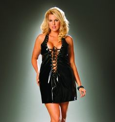 Vinyl mini dress that laces up the front and back.