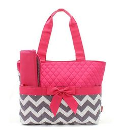 Personalized Grey and Pink Chevron Zig Zag Diaper Bag with Changing Pad   Zig Zag Diaper Tote  Chevron Quilted Diaper Bag New Born Baby on Etsy, $38.95