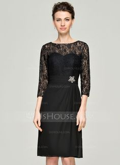 A-Line/Princess Scoop Neck Knee-Length Chiffon Lace Mother of the Bride Dress With Ruffle Beading Sequins (008062567) - JJsHouse