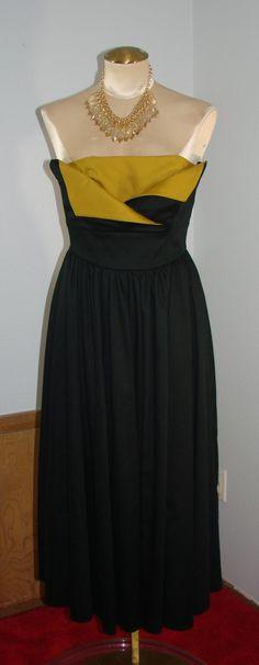 Vintage 80s Laura Ashley Black & Mustard strapless Formal Dress S 34 Bust by TheScarletMonkey on Etsy