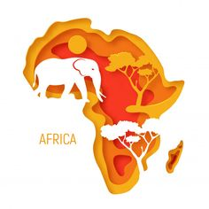 Africa decorative paper cut map of africa continent with elephant silhouette Premium Vector Free Vector 3d Paper Art, Paper Artwork, Diy Paper, Paper Crafts, Paper Cutting Art, Africa Map, Africa Continent, Cut Out Art, Elephant Silhouette