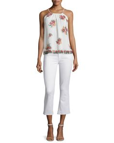Joie Gris Floral-printed Sleeveless Top In Porcelain Joie Clothing, Cropped Flare Pants, Twill Pants, Cotton Spandex, New Fashion, Floral Prints, Porcelain, Printed, Model