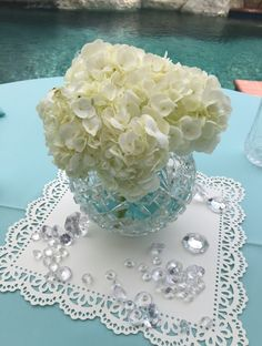 Tiffany blue inspired bridal shower decor featuring white hydrangea, beautiful crystal, and delicate lace. Decor by Imprint Affair.