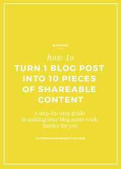 How to turn one blog