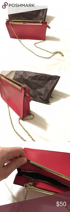 """Coccinelle red saffiano clutch/shoulder bag Removable chain strap Hidden zip top Dust bag included Approx 6""""h, 10.75""""w, 2""""d at base Brand new without tags Beautiful, never used, perfect condition This is from the Spring 2014 collection - http://www.coccinelle.com/us_en/ Coccinelle Bags"""