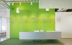 Entering the LA offices of Thornton Tomessti, an international engineering company, it's hard not to notice the floating reception desk in front of a bright green mural with the company's name. Better yet, the bright green objects are actually safety caps for steel rebar, part of the company's line of business. Plus, the designers used green and blue accents throughout to separate public spaces from private spaces, organizing the space and directing work-flow.