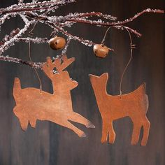 Leather Deer Western Christmas Ornaments - Set of 2 Western Christmas, Christmas Deer, Christmas Music, Christmas Crafts, Christmas Decorations, Christmas Time, Crafts For Seniors, Senior Crafts, Christmas Ornament Sets