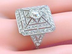 Vintage Art Deco 2 30ctw Diamond Platinum Square Big Cocktail Ring 1950 www.MelsAntiqueJewelry.com SALE
