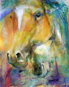 """Crossing Hearts"" - #MottledHorses 2007-contemporary equine art by Iwona Jankowski"