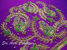 Wedding Saree Blouse Designs, Best Blouse Designs, Pattu Saree Blouse Designs, Blouse Back Neck Designs, Stone Work Blouse, Hand Work Blouse Design, Zardosi Embroidery, Indian Embroidery, Crewel Embroidery