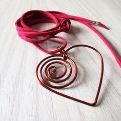 colar coração   cobre