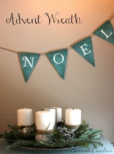 Advent Wreath and Printable Noel Banner. Merry (hung high) Christmas (hung low) letters on each side hung in front of entry way Christmas Advent Wreath, Christmas Decorations, Church Decorations, Holiday Decorating, Christmas And New Year, Winter Christmas, Christmas Stuff, Christmas Ideas, Advent Activities