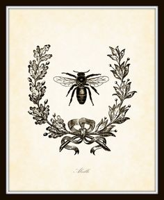 Vintage French Bee with Berry Wreath Botanical Art Print 8x10 Home and Garden Decor Digital Collage Illustration. $10.00, via Etsy.
