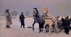Shown here are German refugees, their belongings on a two-horse sled, pass German soldiers as they flee from the avenging Red Army.