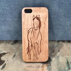 Horse iPhone 6 Case Engraved Wood iPhone 5s Case by ArlaLaserWorks
