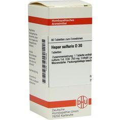 HEPAR SULFURIS D 30 Tabletten:   Packungsinhalt: 80 St Tabletten PZN: 02115546 Hersteller: DHU-Arzneimittel GmbH & Co. KG Preis: 5,95 EUR…