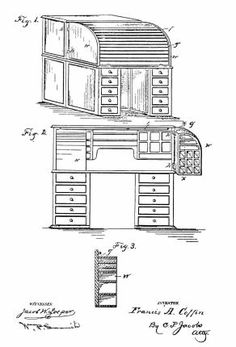 "'PATENT NUMBER 338,632, issued to Francis A.  Coffin, 23 March 1886, for a cabinet desk provided with  ""wings hinged to the top on each side, adapted to be  opened right and left, and to be closed by means of a  flexible curtain coming down over the face of both  wings . ."" Not a true Wooton desk."