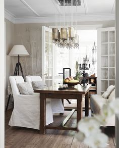 Floor and doors in a beautiful dining room
