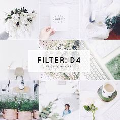 White Instagram theme feed ideas, with white filter D4 in Preview app. D4 is beautiful to make photos bright & soft. Compared to the other filters in the pack D4 doesn't fade the colors away too much. Just the right amount of saturation! That's why I like it for lifestyle photos.
