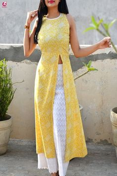 Fashion Tips For Women Capsule Wardrobe Buy Lemon Printed Modal Rayon Sleeveless Long Kurti Online in India Simple Kurta Designs, Stylish Dress Designs, Dress Neck Designs, Designs For Dresses, Stylish Dresses, Blouse Designs, Salwar Designs, Kurta Designs Women, Kurti Designs Party Wear
