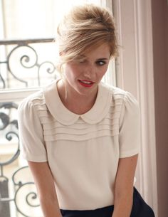 Peter Pan Top WA368 Short Sleeved Tops at Boden