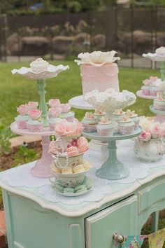 Maypole Garden Party Baby Shower Tea Party First. Baby Is Brewing: Tea Party Baby Shower. Garden Bridal Shower Dessert Bar On Vintage Tea Cart With . Girls Tea Party, Tea Party Theme, Tea Party Birthday, Tea Party Cupcakes, Party Party, Shabby Chic Birthday Party Ideas, Tea Party Desserts, Cake Birthday, Tea Party Foods