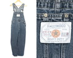 Hollywood denim by LiveToLiveVintage 90s Grunge, Denim Overalls, Dungarees, Hollywood, Vintage Denim, Vintage Ladies, Thighs, Jumpsuit, Cotton