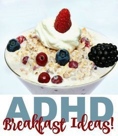 A friend recently asked me what I feed my boys, both of whom have ADHD, for breakfast. She knows that her son, who was recently diagnosed, needs a high protein breakfast to jump start his brain. The problem is that his meds upset his tummy and he can be a High Protein Breakfast, Breakfast For Kids, School Breakfast, Protein Snacks, Healthy Snacks, Healthy Kids, Whey Protein, Healthy Drinks, Adhd Help