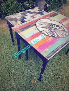 Big chief; Indian; nesting tables; custom painted
