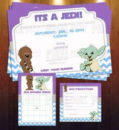 Jedi Star Wars Theme Baby Shower Invite Bundle  Ready To Print Digital