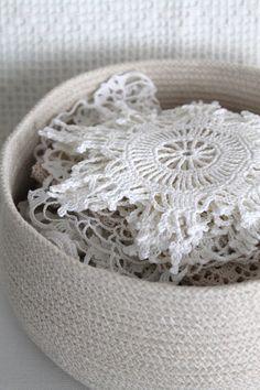 Handmade Rope Basket Shabby Chic Fibre Sculpture.
