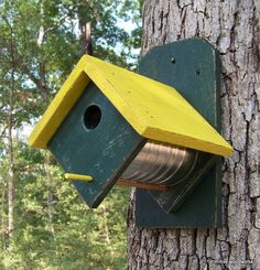 Coffee Can Birdhouse - Primitive Rustic Recycled Weathered Rough Cedar - Painted John Deere Green