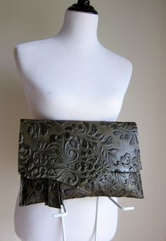LEATHER Large Oversized Huge Clutch Bag Purse by TheFigLeaf