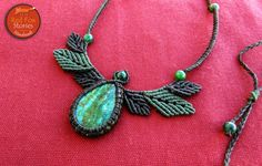 Macrame leaves necklace with Chrysocolla Macrame by RedFoxStories