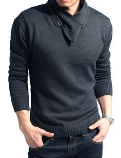 Men Modern Style Slim Fitted Shawl Collar Knit Top