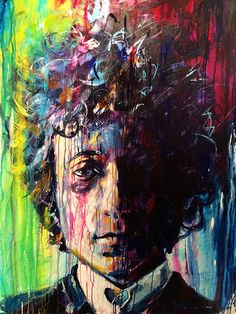 Portrait of Bob Dylan. 36 x 48 acrylic on canvas. Part of a series of 3 rock and rollers that includes Paul McCartney and Bruce Springsteen.