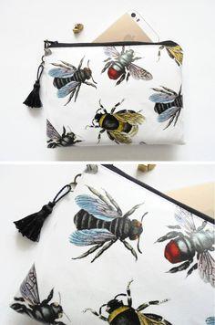 Waterproof bumble bee Clutch, Purse, Wallet, Cosmetic Bag.