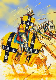French knight under arrow fire at Agincourt