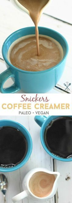 This healthy paleo & vegan Snickers coffee creamer is inspired by your favorite candy bar but it's dairy free and naturally sweetened! This healthy paleo & Dairy Free Coffee Creamer, Vanilla Coffee Creamer, French Vanilla Creamer, Homemade Coffee Creamer, Coffee Creamer Recipe, Paleo Creamer, Natural Coffee Creamer, Healthy Coffee Creamer, Paleo Vegan