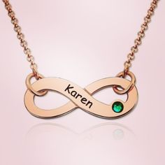 9e2839ee0a Rose Gold Infinity Name Necklace with Birthstone Infinity Necklace With  Names, Infinity Jewelry, Name