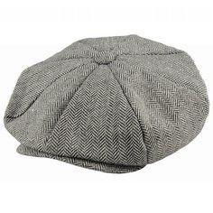 Gubbkeps+ +Flat+cap+-+Jaxon+Hats+Herringbone+Big+Apple+Cap+(grå) ecc4a9a0518f
