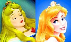 Aurora new and old. Personally, I can't forgive the changes they have made. She was always the most beautiful princess to me and now they've changed so much about her, the shade if her hair, the style, her features, even her face shape. Now she looks like an overly processed plastic bint.