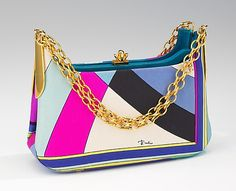 Cocktail bag  Emilio Pucci (Italian, Florence 1914–1992)  Date: 1965–70 Culture: Italian Medium: silk, metal, leather