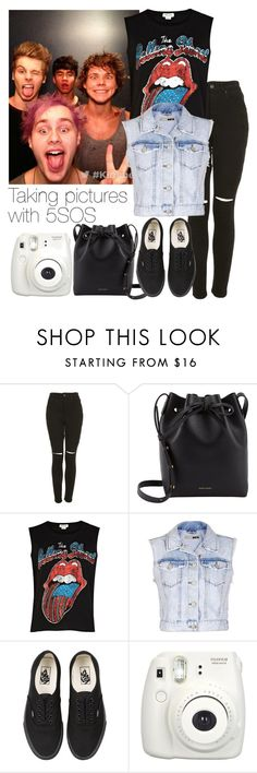 """""""Taking pictures with 5SOS"""" by mmbrambilla ❤ liked on Polyvore featuring The Ragged Priest, Mansur Gavriel, River Island, Topshop, Vans and Fujifilm"""