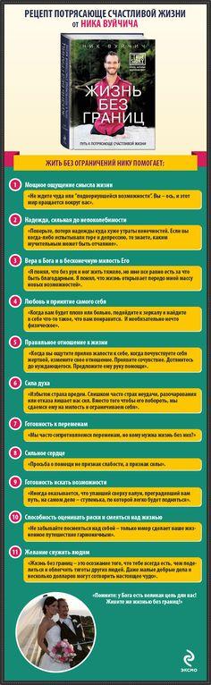 Ник Вуйчич «Жизнь без границ» в инфографике    А знаете ли вы, что каждая глава книги Ника Вуйчича «Жизнь без границ», вышедшей в издательстве «Эксмо», посвящена одному из пунктов его «рецепта счастья»?  Хотите узнать его и стать настолько же счастливым, как Ник? Смотрите наш инфографик!  Посмотреть инфографик в большом разрешении: http://eksmo.ru/Vujicic1/
