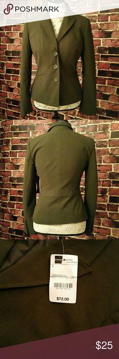 NWT Worthington Works Blazer Worthington Works Blazer. Shell: 64% polyester, 32% rayon, 4% spandex. Lining: 100% polyester. Color: heathered olive. Worthington Jackets & Coats Blazers