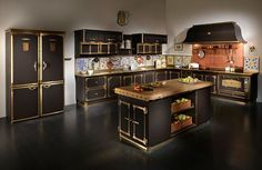 Lovely Mediterranean Style Kitchen In Gold And Black With Copper And Tiles  Backsplash